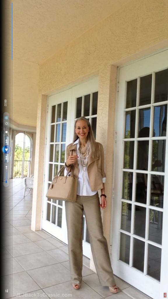 Classic-Fashion-Over-40/50-Ann-Taylor-soft-Moto-Jacket-Pearls-Prada-Bag