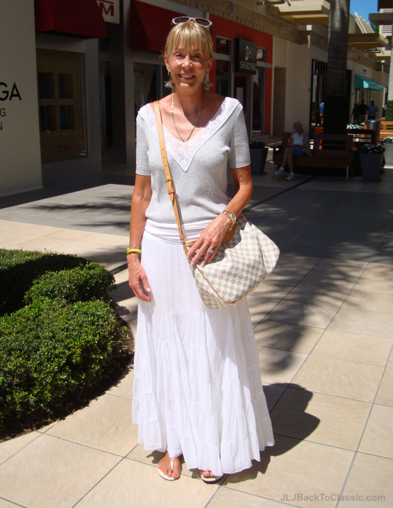 Classic-Fashion-Over-60-White-Maxi-Skirt-Grey-Tee-Louis-Vuitton-Bag