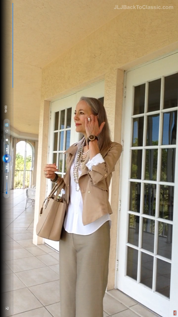 5Classic-Fashion-Over-40/50-Ann-Taylor-Moto-Jacket-Pearls-Prada-Bag