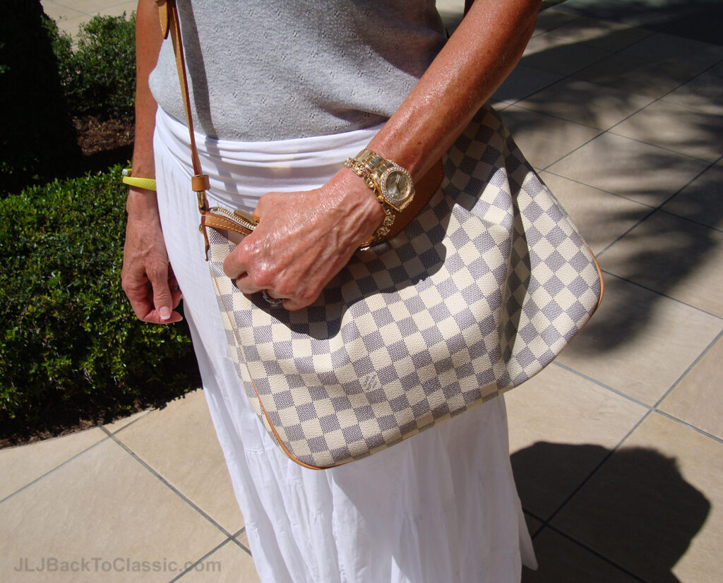 2-Classic-Fashion-Over-60-White-Maxi-Skirt-Grey-Tee-Louis-Vuitton-Bag