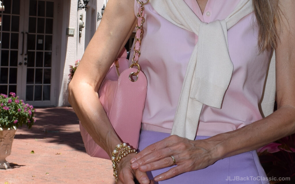 Pink-Chanel-Caviar-Leather-Bag-Gold-Pearl-Bracelets-Gold-Diamond-Band