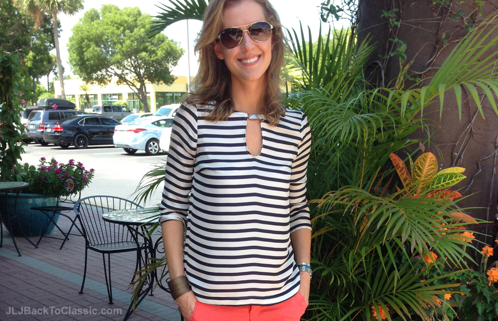 Navy-And-White-Striped-Top-With-Coral-Chinos