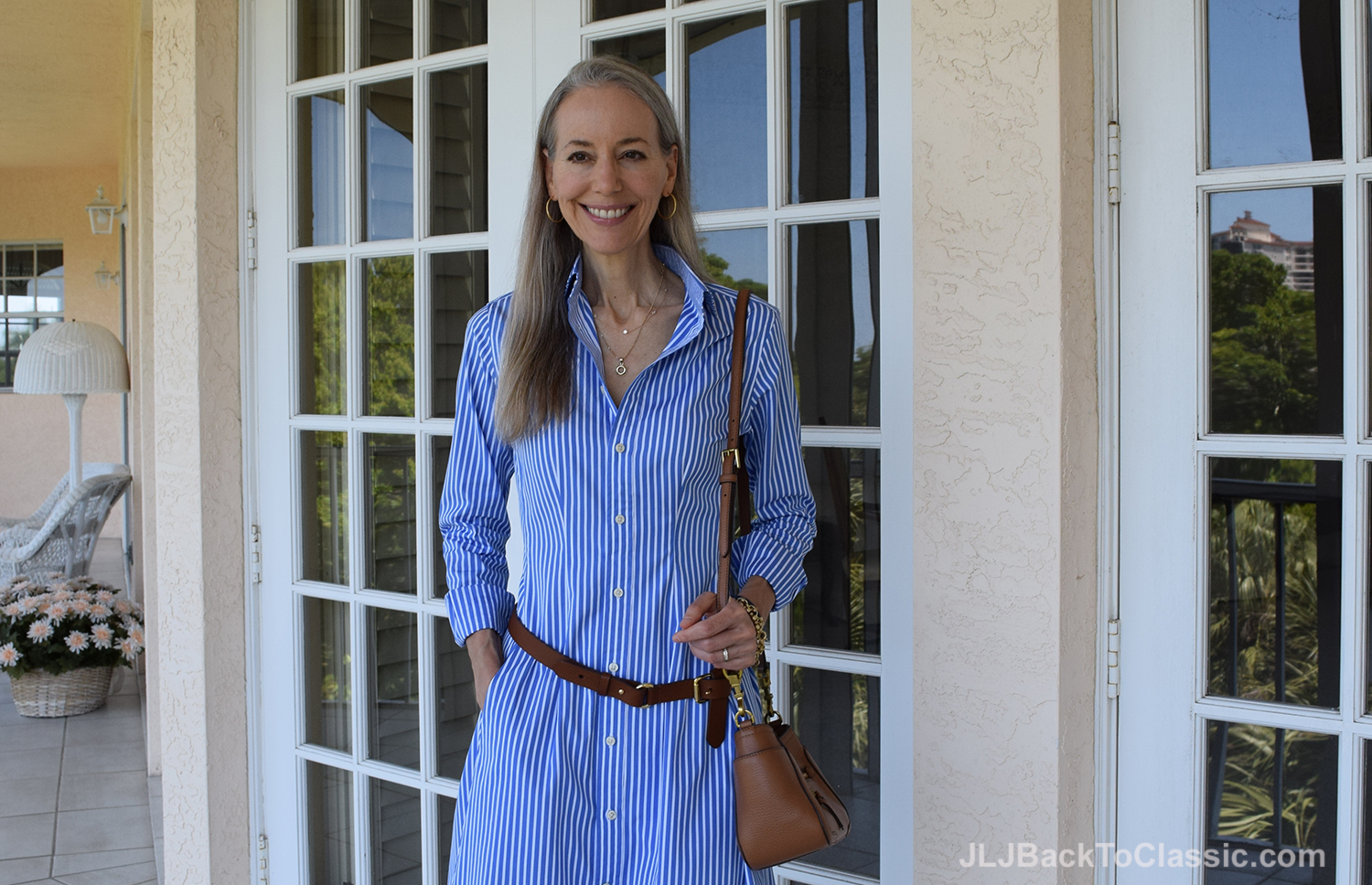 Ralph Lauren Shirt Dress With Tory Burch Bag