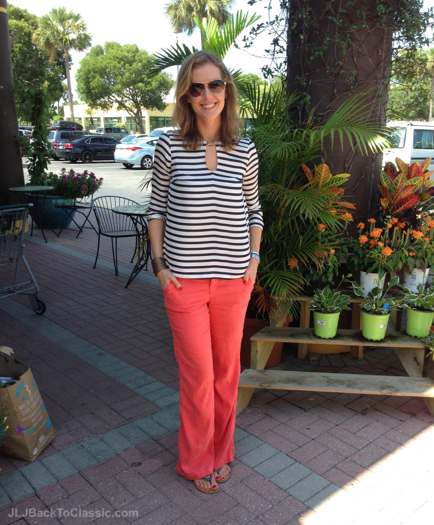 2-Navy-And-White-Striped-Top-With-Coral-Chinos