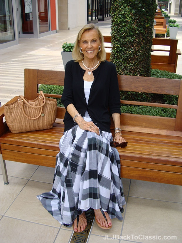 Soft-Surroundings-Plaid-Skirt-and-Cardigan-With-T-Strap-Sandals
