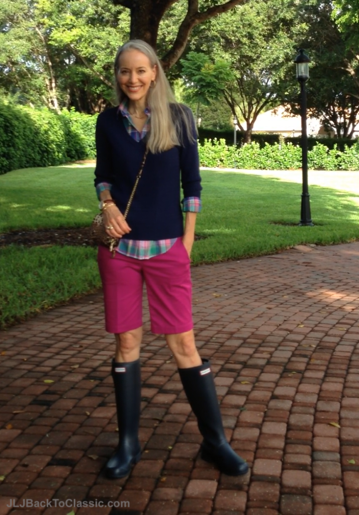 Janis-Lyn-Johnson-Hunter-Boots-Ralph-Lauren-Shirt-Ann-Taylor-Shorts