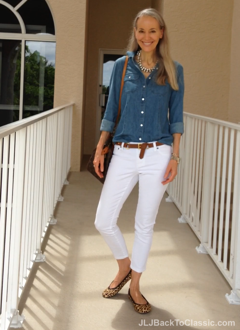 (Video) Talbots Denim Shirt White Skinny Jeans Leopard Flats And A Vintage Louis Vuitton ...