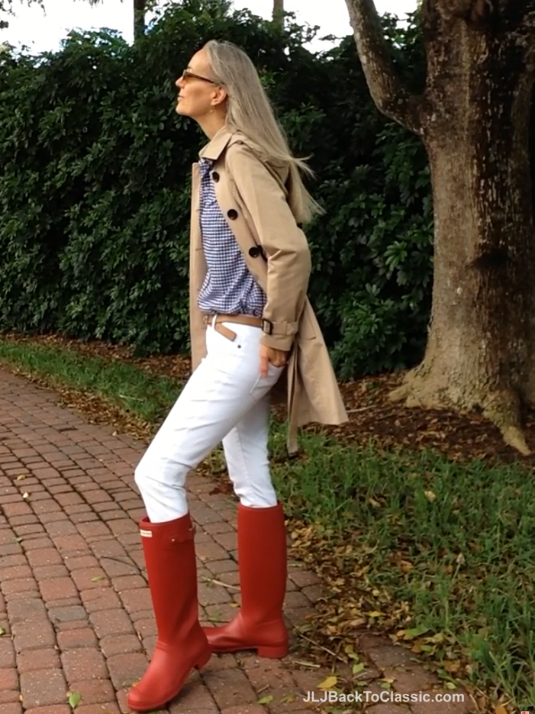 Fashion-Over-40-Michael-Kors-Trench-White-Jeans-Red-Hunter-Tour-Boots