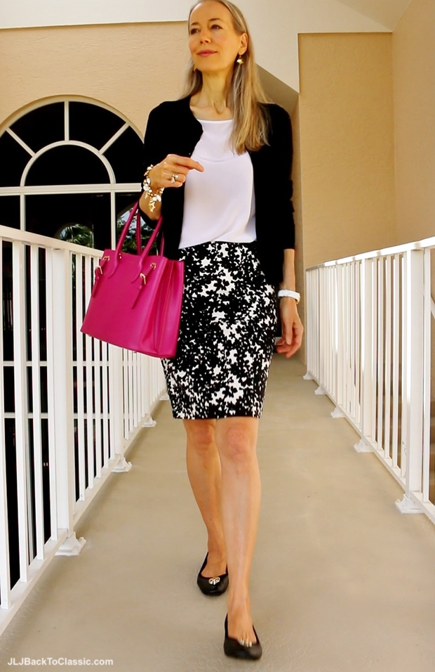 Ann-Taylor-Black-White-Skirt-Lilly-Pulitzer-Top-Talbots-Cardigan-Ralph-Lauren-Pink-Tote