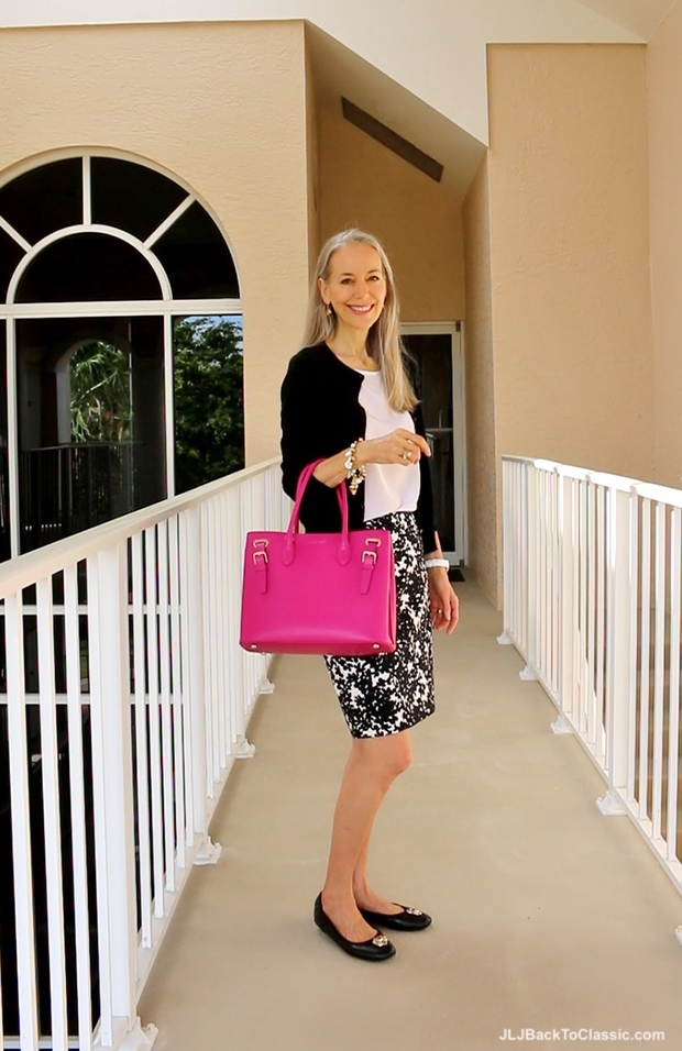 Ann-Taylor-Black-White-Skirt-Lilly-Pulitzer-Top-Talbots-Cardigan-Ralph-Lauren-Pink-Tote2