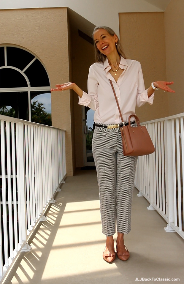 J-Crew-Shirt-Ann-Taylor-Cropped-Jacquard-Pants-Crossbody-and-Slingback-Flats-Janis-Lyn-Johnson
