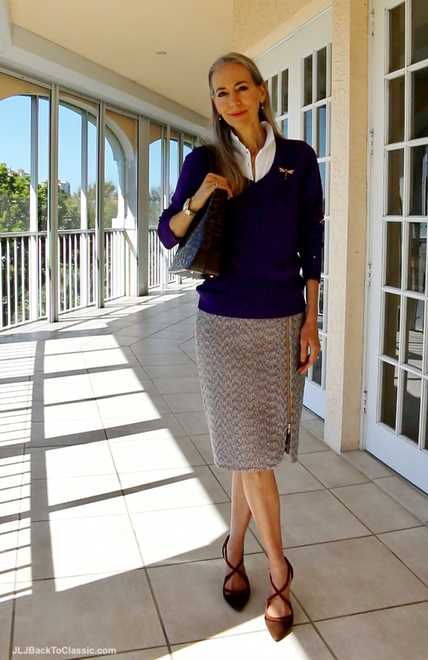 Janis-Lyn-Johnson-J-Crew-Tweed-Skirt-Tommy-Hilfiger-V-Neck-Sweater2