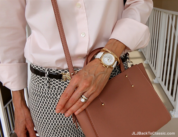 Michele-Diamond-CSX-Watch-JCrew-Blush-Shirt-Ann-Taylor-Blush-Crossbody