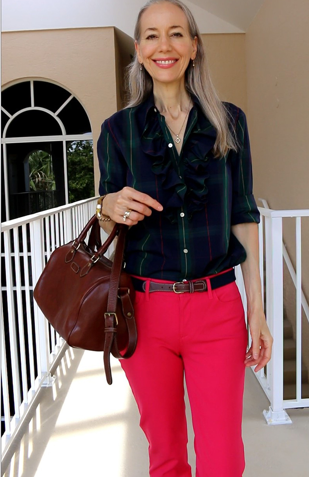 Ralph-Lauren-Ruffle-Shirt-and-Leather-Satchel-Fashion-Over-40-Over-50
