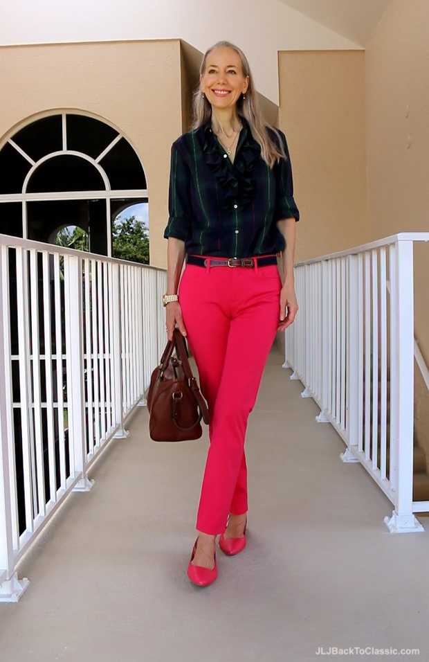Talbots-Slim-Ankle-Pant-Slingback-Flats-Ralph-Lauren-Plaid-Shirt-Bag