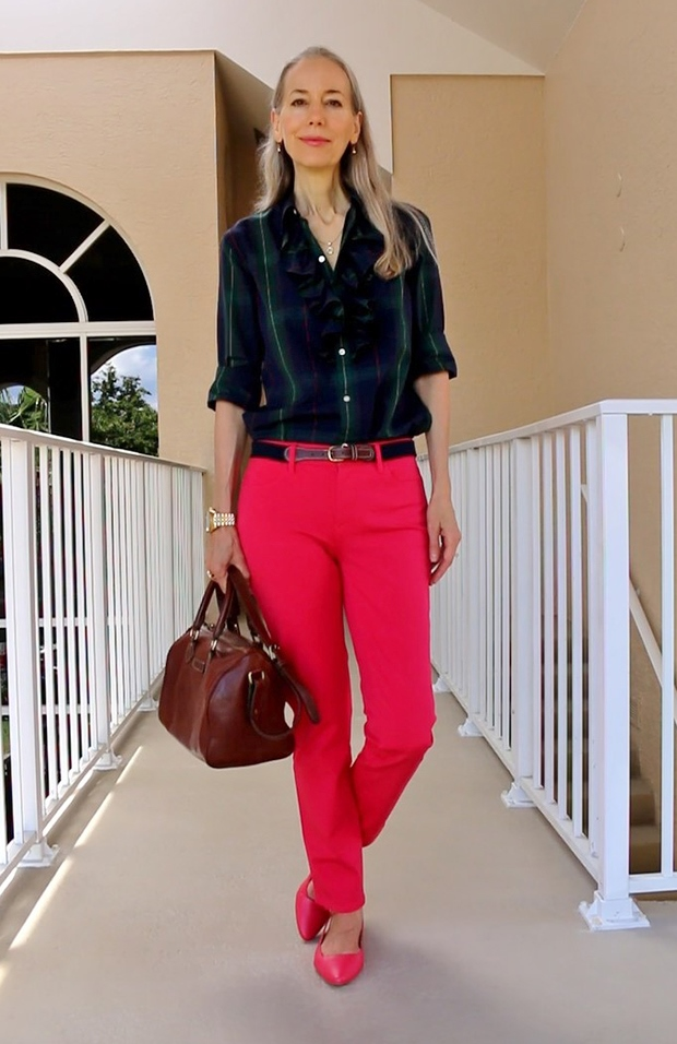 Talbots-Slim-Ankle-Pants-Slingback-Flats-Ralph-Lauren-Plaid-Shirt-Bag-Fashion-Over-40