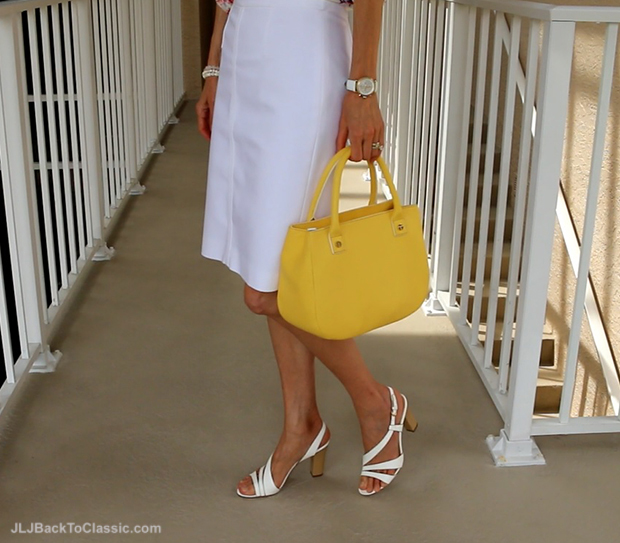 Ann-Taylor-White-Pencil-Skirt-Talbots-Yellow-Top-Handle-Satchel-Nine-West-Sandals