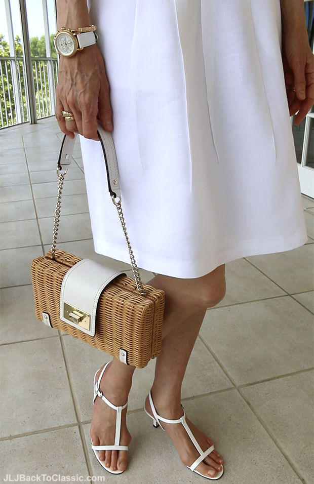 Fashion-Over-40-Kate-Spade-Straw-Bag-Michele-CSX-Watch-Brooks-Brothers-Skirt-Vaneli-White-Sandals