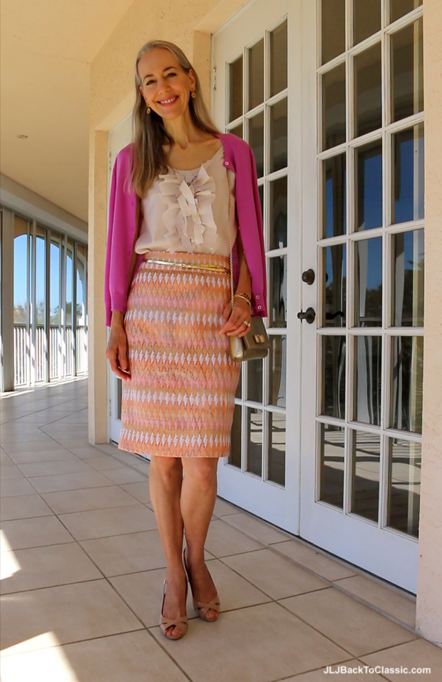 Fashion-Over-40-Over-50-JCrew-Cardigan-Top-Pencil-Skirt-Salvatore-Ferragamo-Vara-Bag