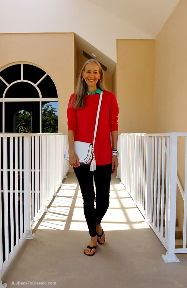 Fashion-Over-50-Talbots-Coral-Sweater-Navy-Leggings-Kate-Spade-White-Crossbody