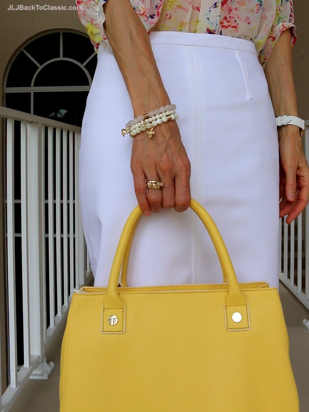 Talbots-Bracelets-and-Yellow-Leather-Top-Handle-Bag-Ann-Taylor-White-Pencil-Skirt