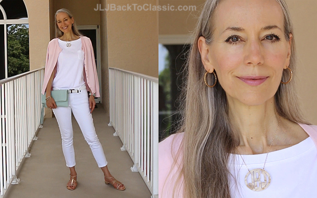 Classic-Fashion-Over-40-Pink-Talbots-Cardigan-White-Jeans-Gigi-NY-Azure-Clutch-Blog