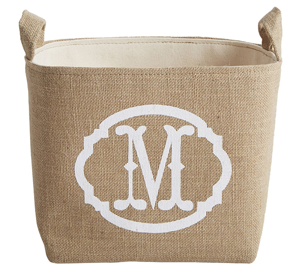 White-Monogram-Burlap-Storage-Bin-Amazon