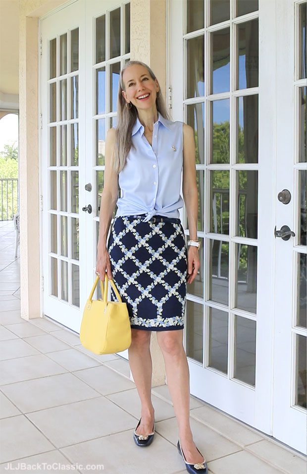 Classic-Fashion-Over-40-Pairing-Blue-With-Yellow-Slim-Skirt-Button-Up-Shirt-Flats