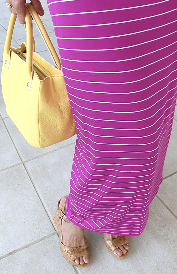 Classic-Fashion-Over-40-Magenta-Maxi-Dress-Yellow-Bag-Lucky-Brand-Cork-Platform-Sandals