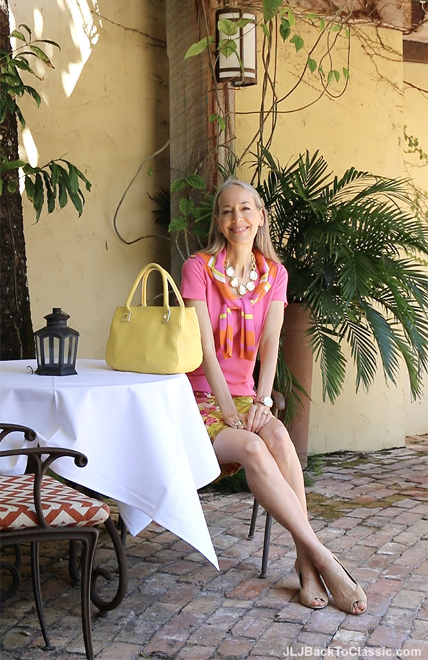 Classic-Fashion-Over-40-Pink-Ann-Taylor-Tee-Floral-J-Crew-Skirt-Talbots-Bag