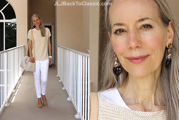 Classic-Fashion-Over-40-Talbots-Tan-Sweater-White-Skinny-Jeans-Louis-Vuitton-Azur