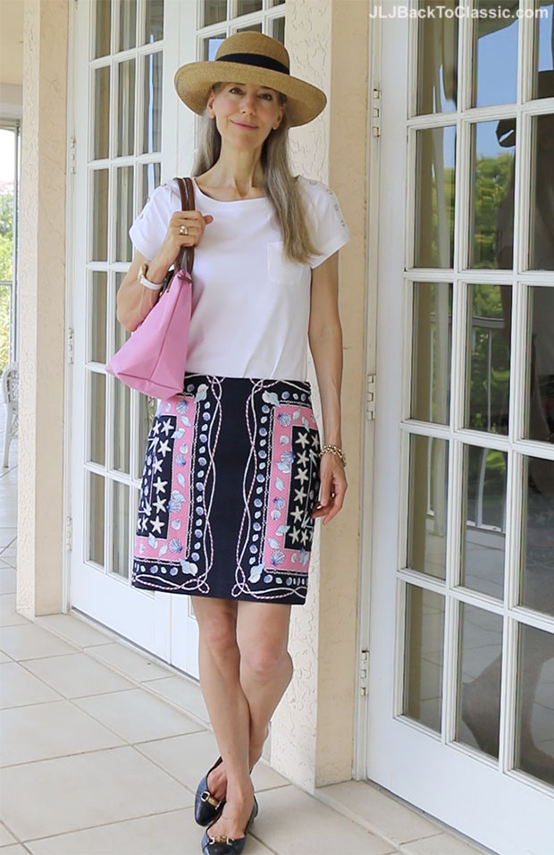 Video Classic Fashion Over 40 Summer Hat Outfit Pink And Navy Talbots Skirt White Tee And