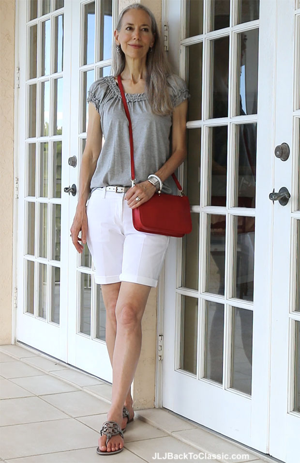 video  classic fashion over 40  red  white  and gray casual feminine shorts outfit  u2013 jlj back