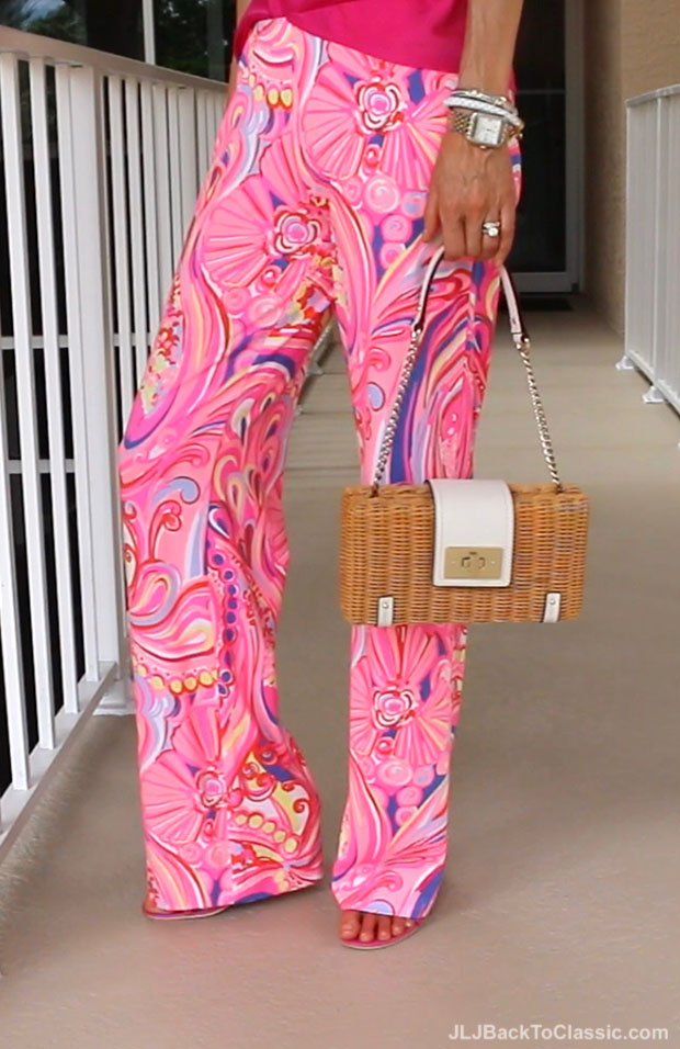 Classic-Fashion-Over-40-Pink-Lilly-Pulitzer-Palazzo-Pant-Kate-Spade-Wicker-Bag