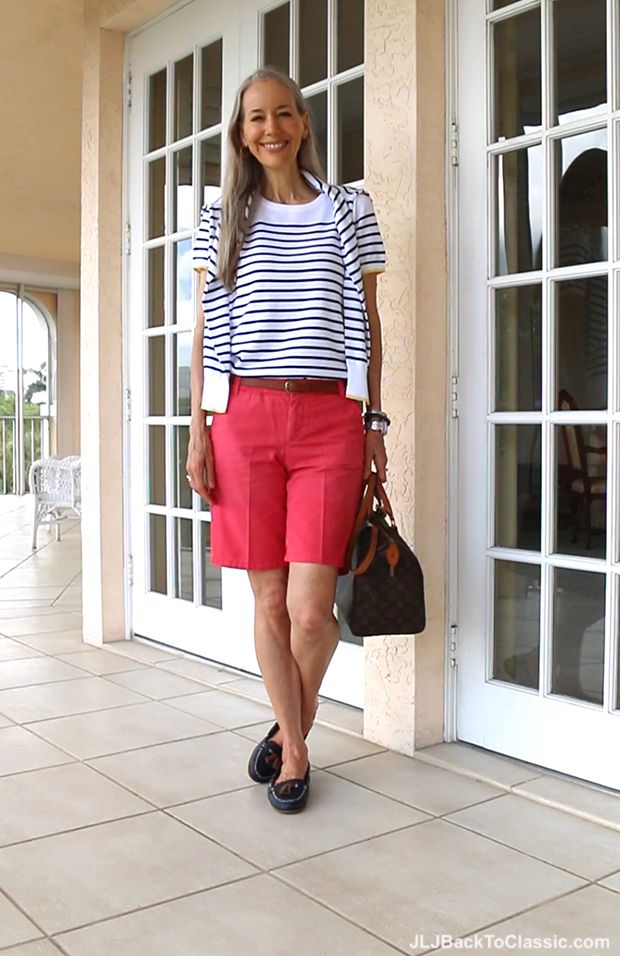 Classic-Fashion-Over-40-50-Lands-End-Striped-Cardigan-Coral-Shorts-Speedy