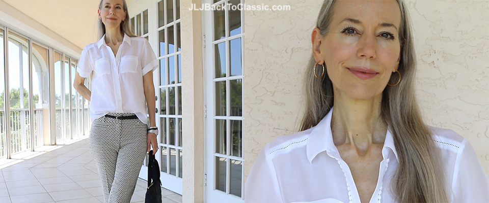 (Video) Classic Fashion Over 40/50: Black and White With Coral–Ann Taylor Cropped Jacquard Pants and Sheer, Girly Top With a Kate Spade Quilted Nylon Bag, and Talbots Slingback Flats