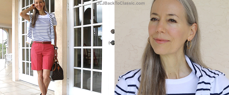 (Video) Classic Fashion Over 40/50: Land's End Navy and White Stripe Sweater Set, Gap Coral Shorts, Vintage Louis Vuitton Bag
