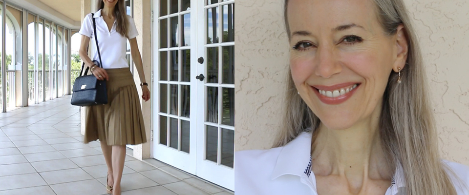 (Video) Classic Fashion Over 40/50: Preppy White Polo Shirt, Tan Ann Taylor Knife Pleat Skirt, Peep-Toe Wedges, and A Navy Kate Spade Top-Handle Bag