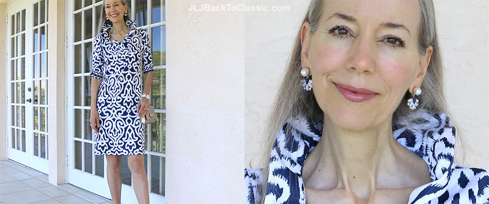 (Video) Navy and White Ruffle Dress with Statement Earrings, Slingback Pumps, and a Gold Metallic Salvatore Ferragamo Bag