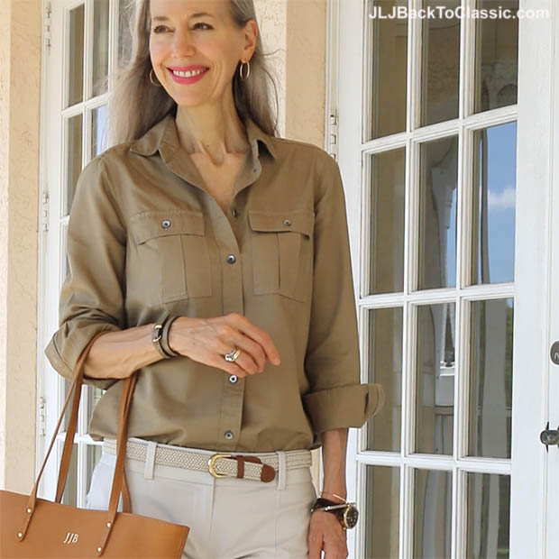 classic-fashion-over-40-j-crew-fatigue-shirt-gigi-ny-tote