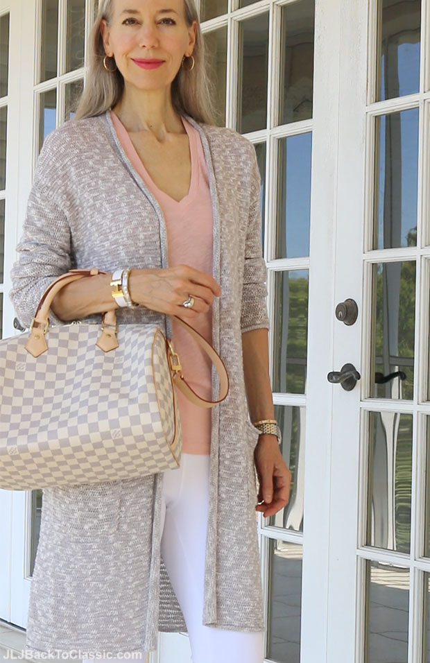 classic-fashion-over-40-50-long-cardigan-white-leggings-louis-vuitton-speedy