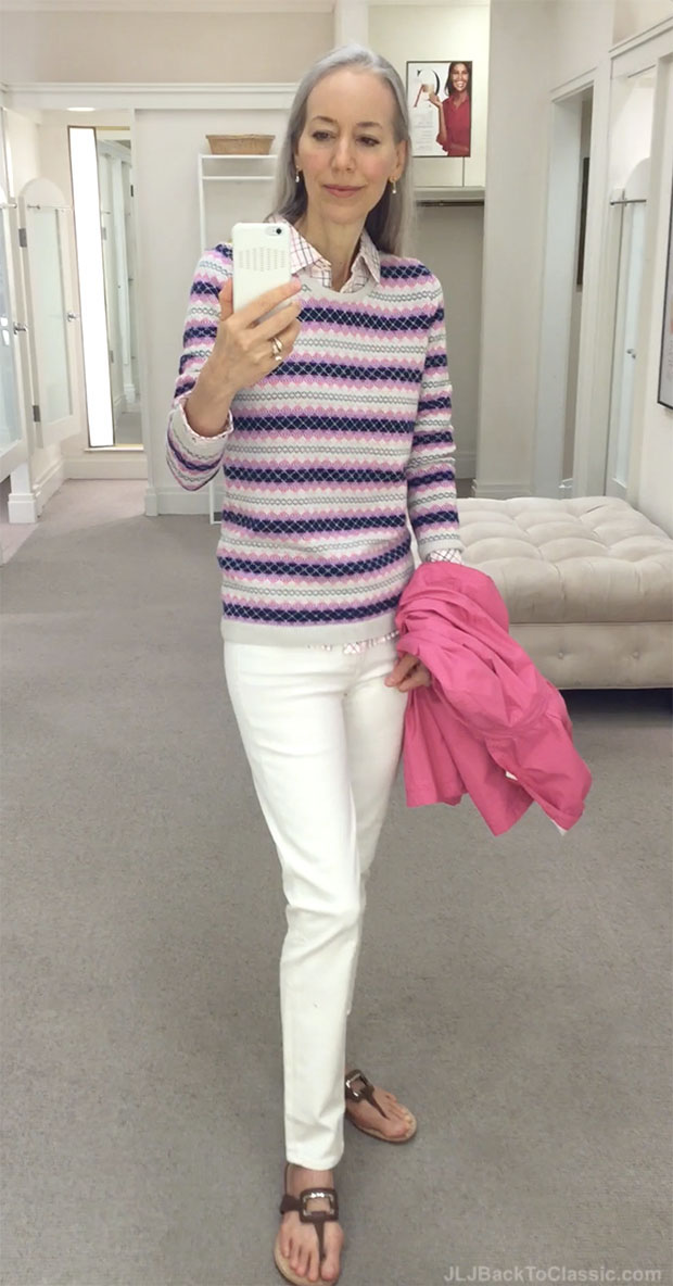 classic-fashion-over-40-talbots-fairisle-stripe-sweater-slim-ankle-jeans-vanilla