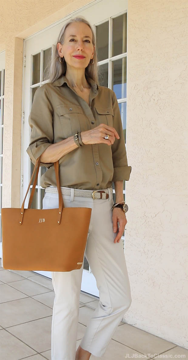 classic-fashion-over-40-50-j-crew-fatigue-shirt-gigi-ny-tote
