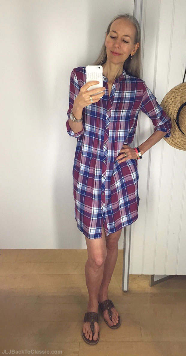 classic-fashion-over-40-50-burgandy-and-navy-plaid-shirt-dress-marshalls