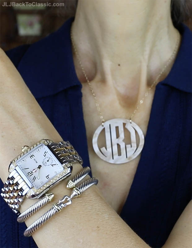 classic-fashion-over-50-michele-watch-david-yurman-cable-classics-bracelets-monogram-necklace