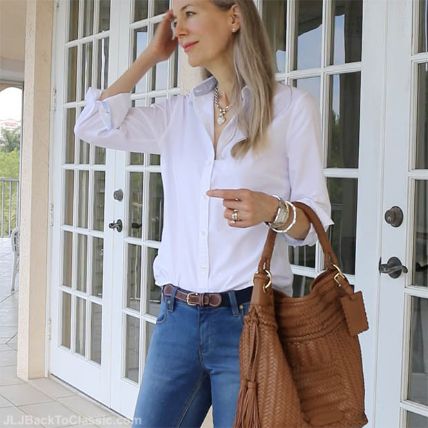 629c5e99b1f (Video Chat   OOTD) Classic Fashion Over 40 50  Land s End Classic White  Oxford Shirt With Skinny Jeans