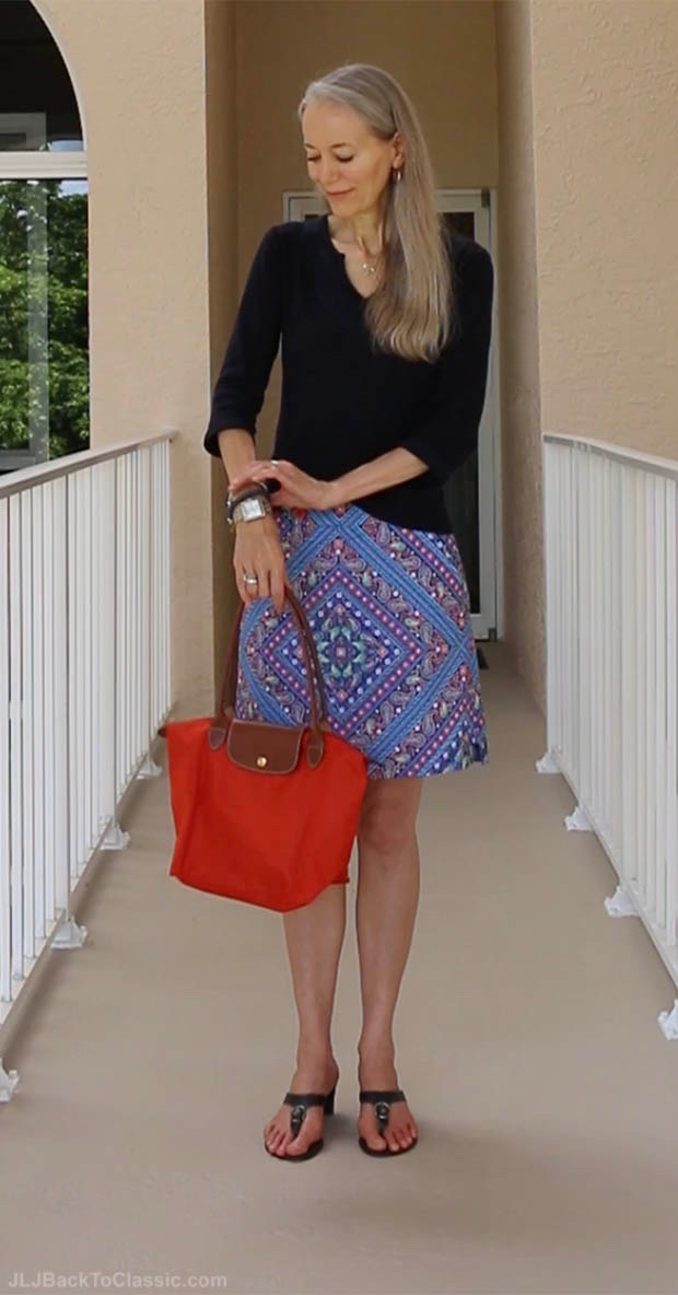 Classic-Fashion-Over-40-50-Navy-and-Burnt-Orange-Skort-Outfit