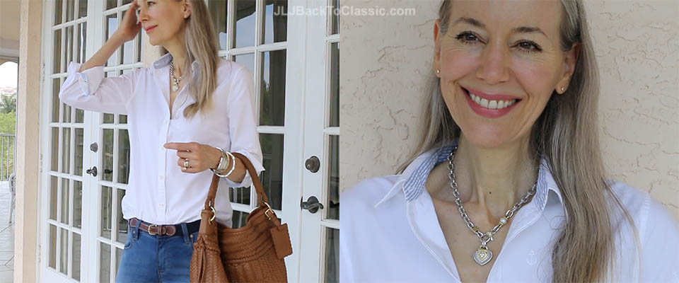 (Video Chat) Classic Fashion Over 40/50: A Land's End Classic White Oxford Shirt With Skinny Jeans, and Gold Metallic Flats