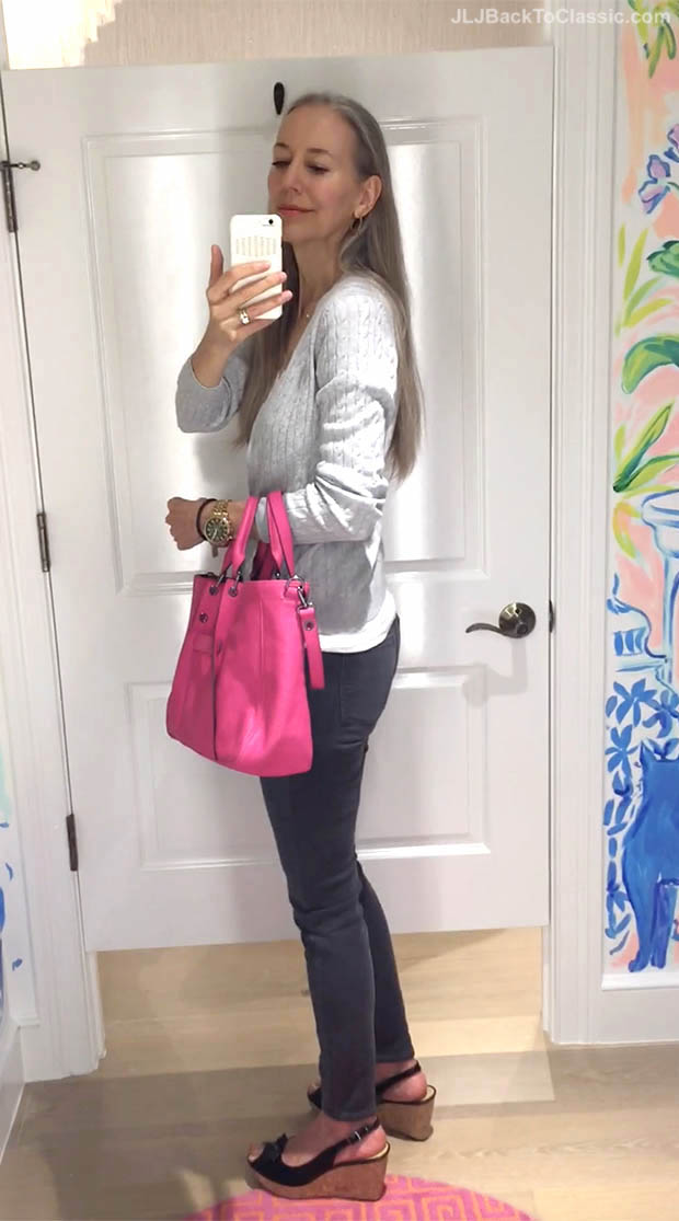 Classic-Fashion-Over-40-Talbots-Jeggings-Longchamp-3d-Tote-Trotters-Allie-Wedges