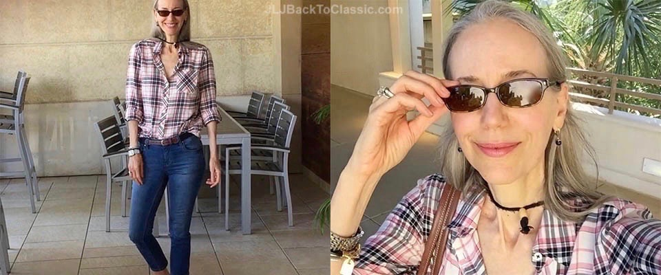 (Video and Short Chat) Classic Fashion over 40-50: Pink and White Plaid Button Up, Cropped Skinny Jeans, Pink Nylon Tote, and Sandals